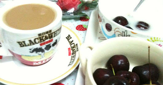 AmCherry 15/20 mins cooking .recipe Vblog.fruitly. simple.easy.quick cook yummly. Cherry Oats with Milk Tea