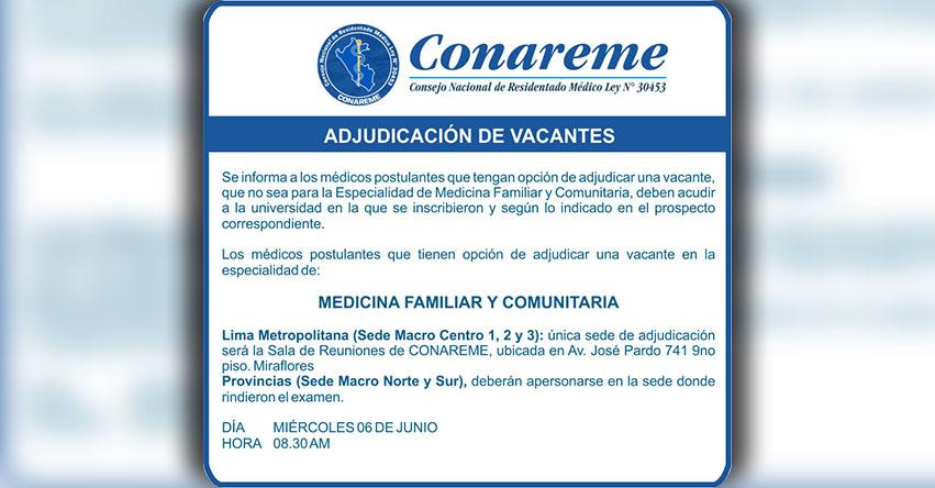 CONAREME 2018: Adjudicación de Vacantes - Consejo Nacional de Residentado Médico - www.conareme.org.pe
