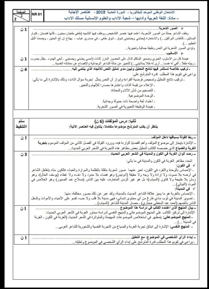 الامتحان الوطني الموحد للباكالوريا / اللغة العربية، مسلك الآداب، الدورة العادية 2015