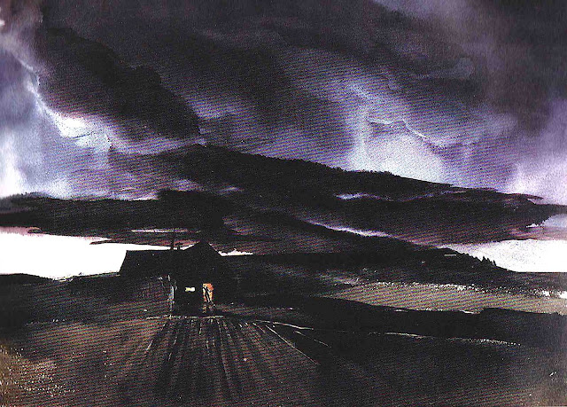 a Mary Blair color design for Disney, farm in a storm