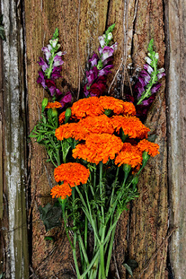 marigolds and snapdragon flower bouquet