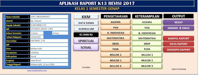 Download Aplikasi Raport Kurikulum 2013 SD Kelas 1 Semester Genap Revisi 2017 Penyempurnaan 2019,