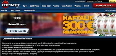 slotlarda %100 reload - tüm oyunlarda %50 reload 300 euro bonus