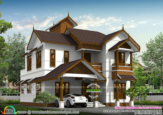 Unique Kerala traditional house rendering