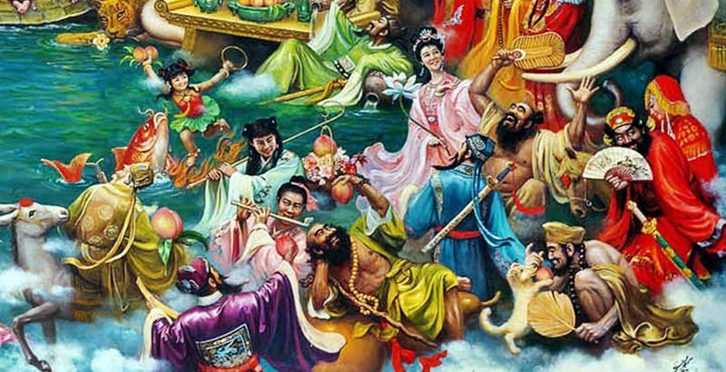 หลี่ไป๋(李白), นาจา(哪吒), เตียกั๊วเล้า(張果老), เช่าก๊กกู๋(曹國舅), ฮั่นเซียงจือ(韓湘子), หลีทิก๊วย(鐵拐李), น่าไช่ฮั้ว(藍采和), ลื่อทงปิน(呂洞賓), ฮ่อเซียนโกว(何仙姑), ฮั่นเจ็งหลี(漢鍾離), จี้กง(濟公禪師), จงขุยกับน้องสาว(鐘馗嫁妹)