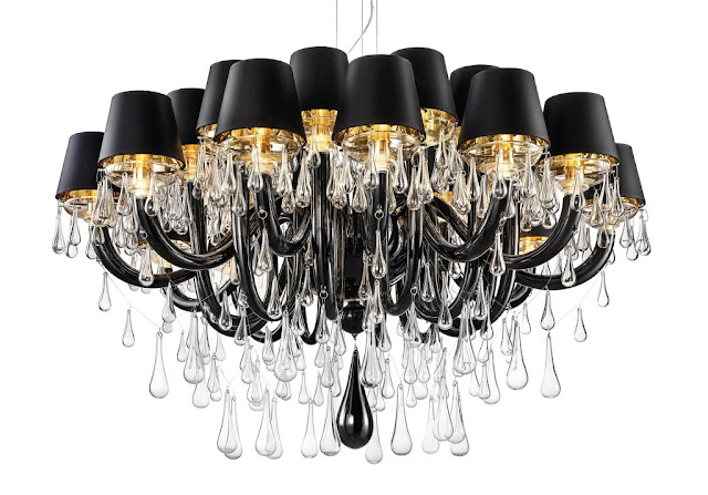 modern black chandelier with shades