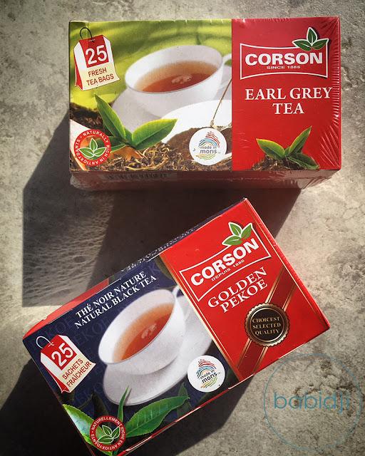 2 boîtes de thé de la marque mauricienne Corson earl grey et golden pekoe