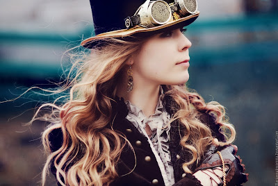 steampunk clothing (women's clothing, top hat, goggles, gloves, earrings, jacket, blouse)