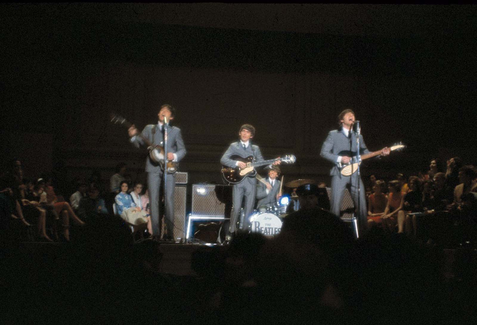 The British rock and roll group the Beatles perform at Carnegie Hall in New York City, on February 12, 1964.