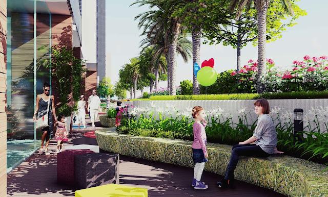 Đường dạo bộ trên tầng 6 The Golden Palm