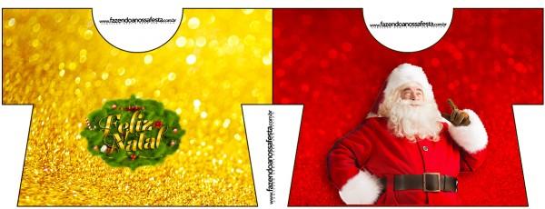 Tarjeta con forma de camisa de Santa Claus en Rojo y Dorado.