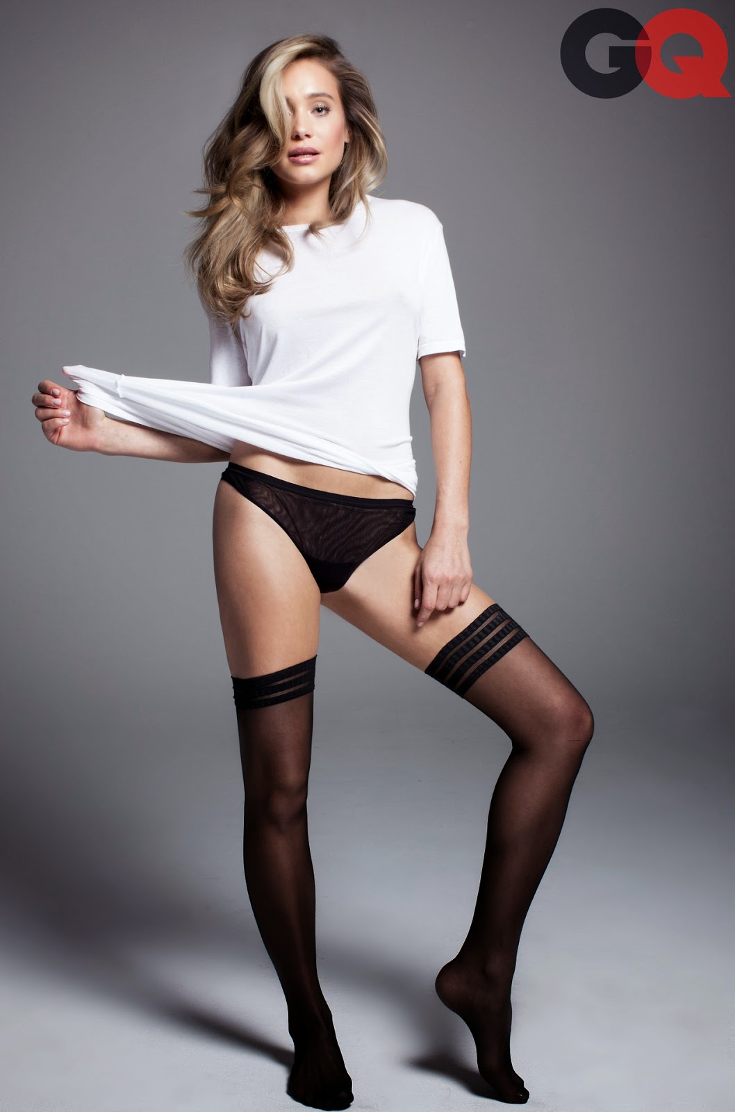 Hannah Davis sexy socks in April 2014 issue of GQ mag