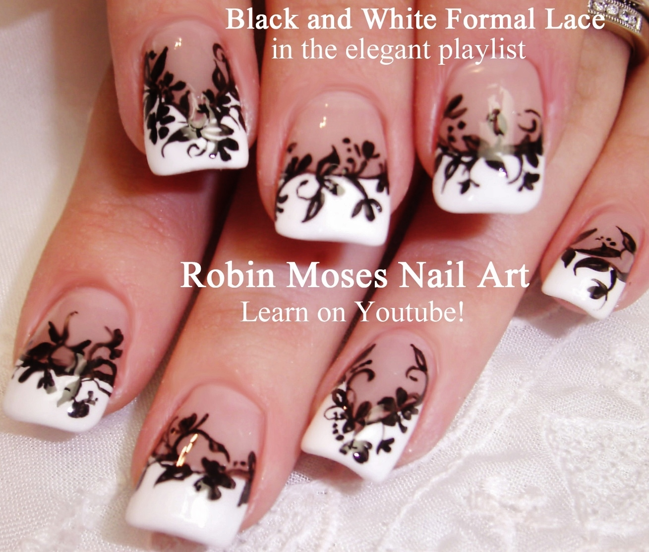 Nail Art by Robin Moses: Sheer Matte Black Nails With Floral Lace ...