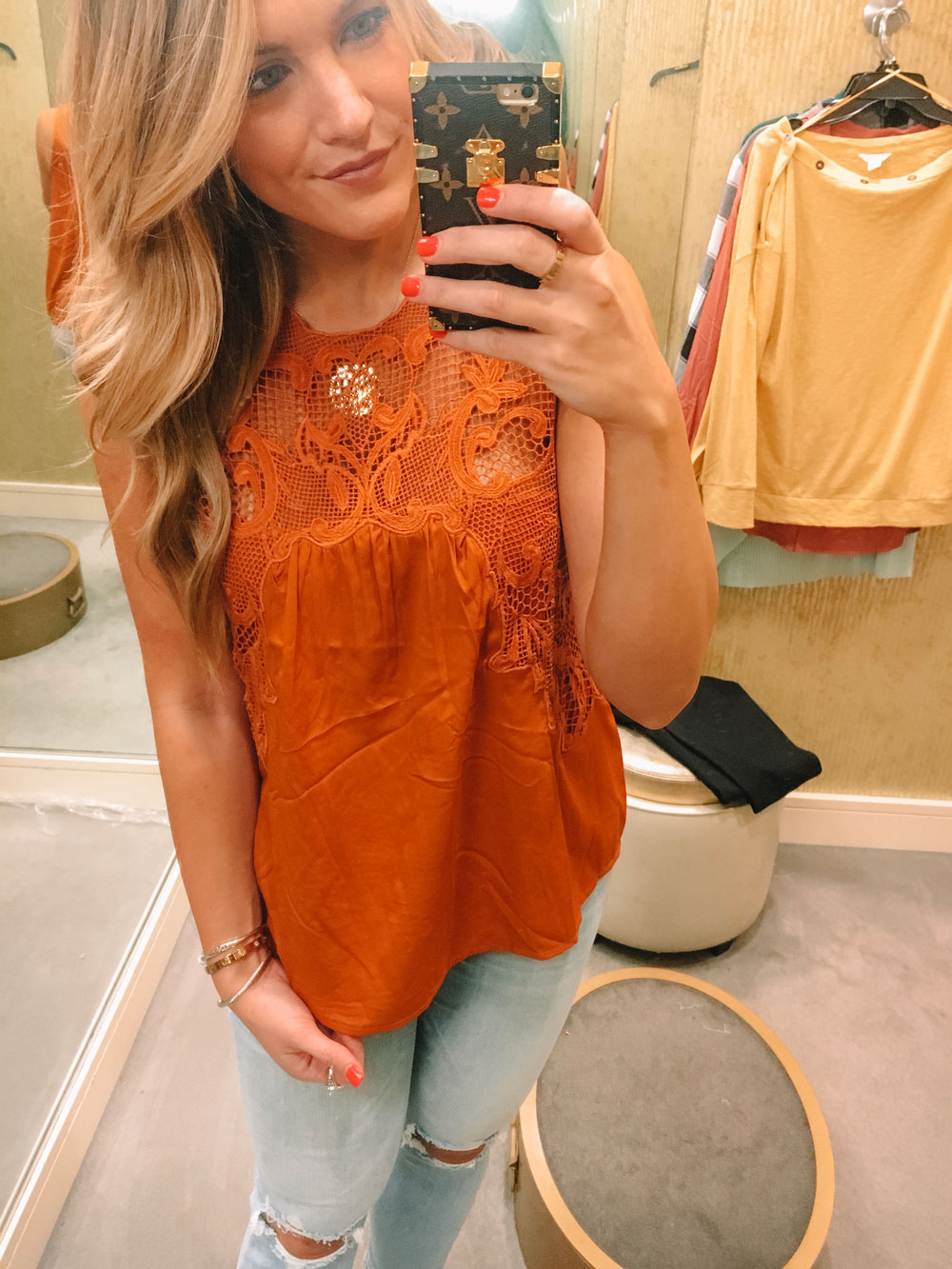 N-Sale orange lace top