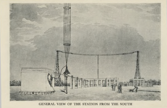 Sketch of the general view of the London Twin-Wave Broadcasting Station Brookmans Park from the south