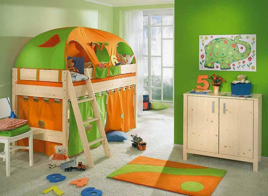 Desain kamar anak paling unik dengan cat dinding warna hijau