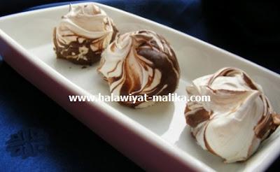 Meringue marbrée au chocolat ميرانغ رخامي بالشوكولاته