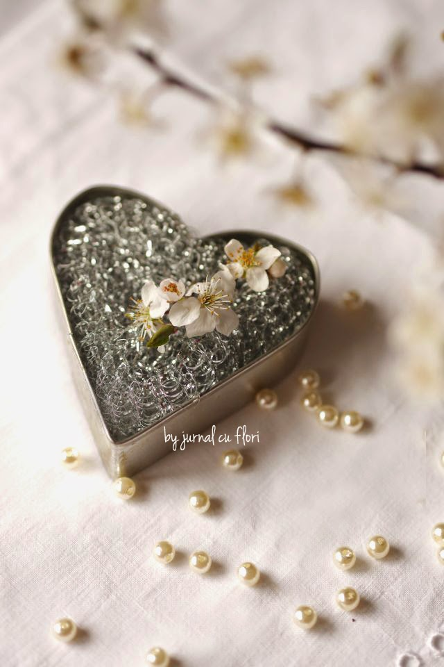 inima metal flori cires perle margele aranjament apple blossom arrangements heart pearls