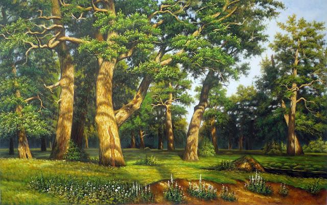 tranh rừng sồi