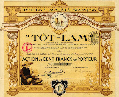 Thé Tôt-Lam, F100 share, 1912, Indochina lot 134 in the auction, start price €600