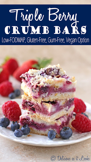 Triple Berry Crumb Bars {Low-FODMAP, Gluten-Free, Gum-Free, Vegan Option}  /  Delicious as it Looks