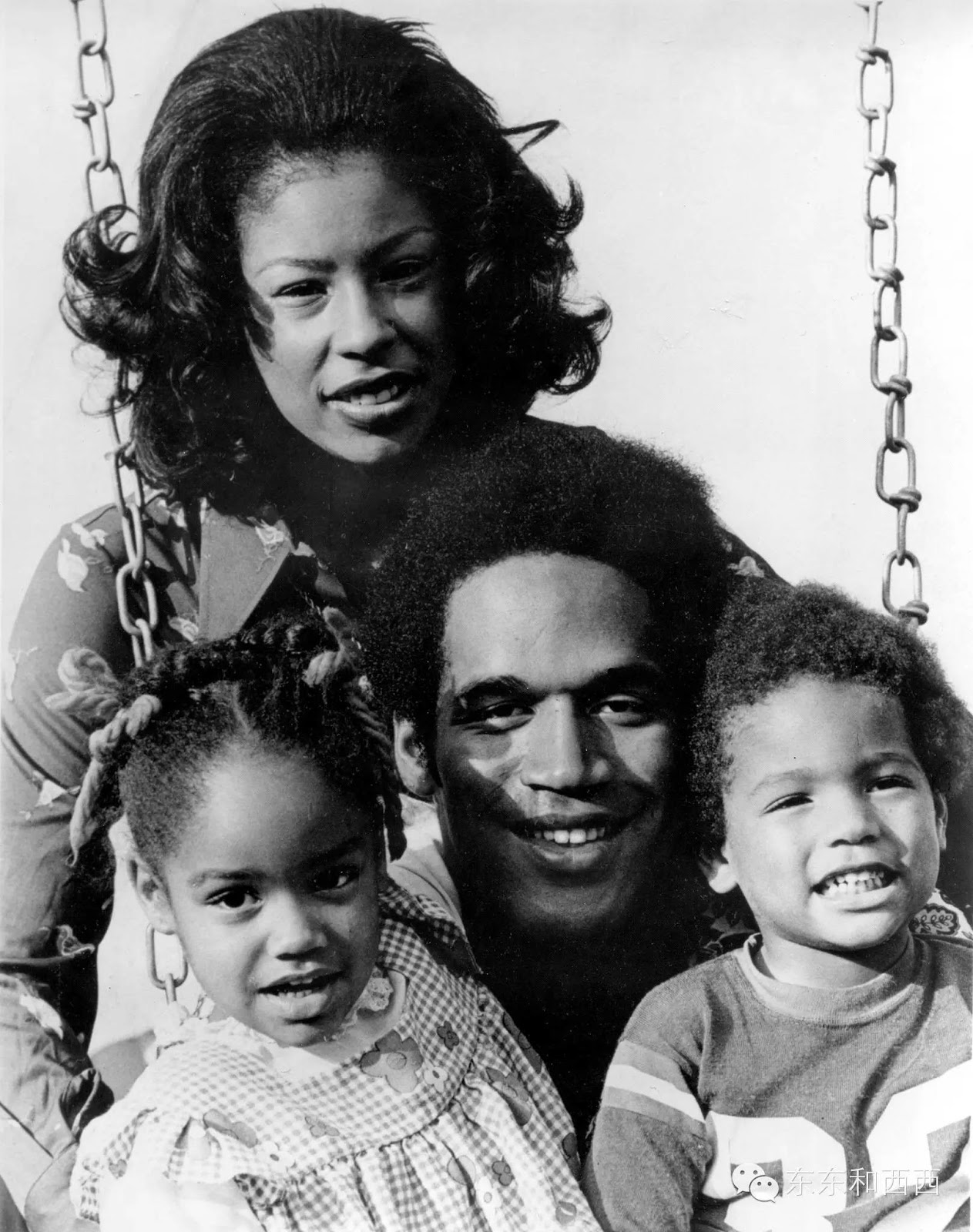 O.J. Simpson and his first wife Marguerite Whitely with their children Arnelle L. Simpson (born in 1968),  and Jason L. Simpson (b. 1970)