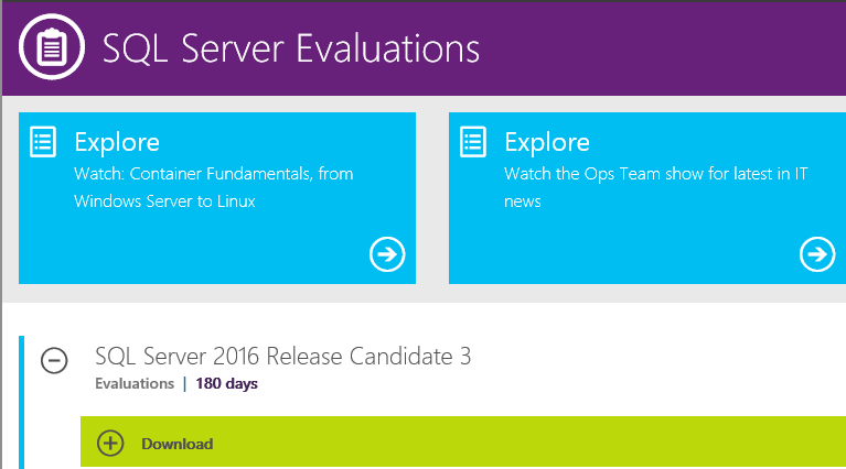 Image result for SQL Server 2016 Release Candidate 3 now available