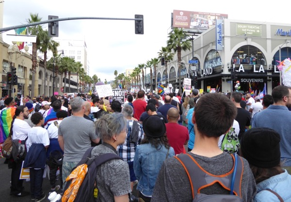 LA Resist March Pride 2017 crowds Hollywood Blvd
