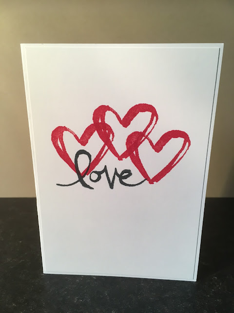 Watercolor Words Red Heart Card Stampin' Up!