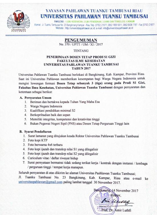 Penerimaan Dosen Tetap Prodi Gizi Universitas Pahlawan Tuanku Tambusai