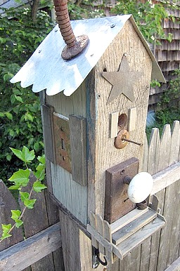 DIY birdhouse from found parts and reclaimed wood