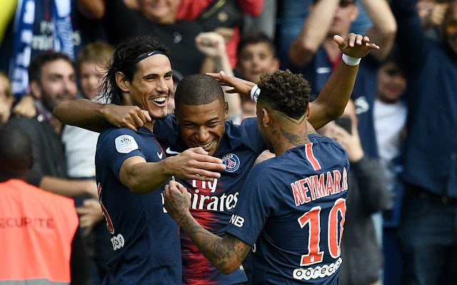 Cavani, Mbappe, Neymar celebrate goal against Angers