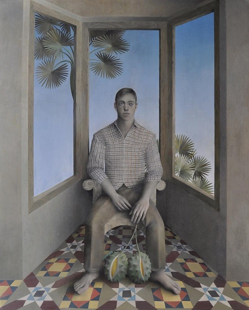 "arte contemporáneo, pinturas, óleos, by James Mortimer, ""The Tiled Room"", 2017."