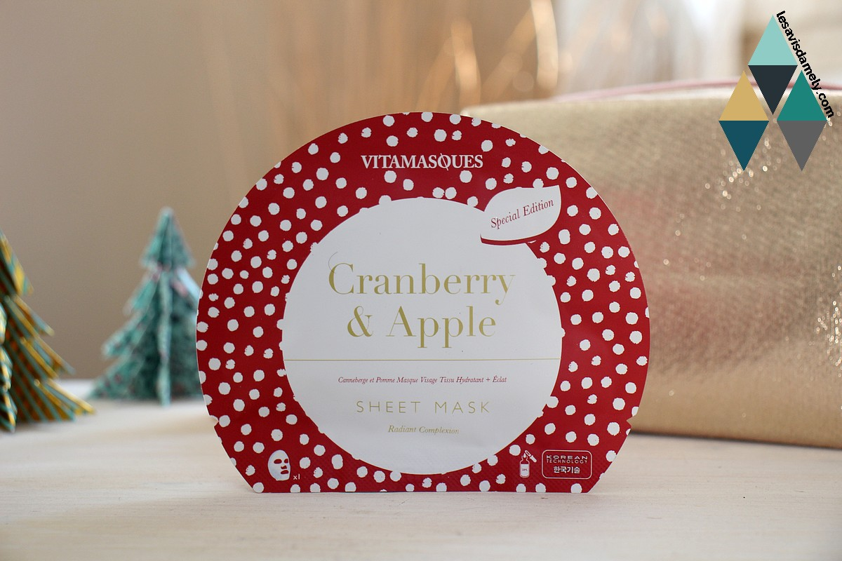 masque tissu cranberry & apple hydratant + éclat de Vitamasques