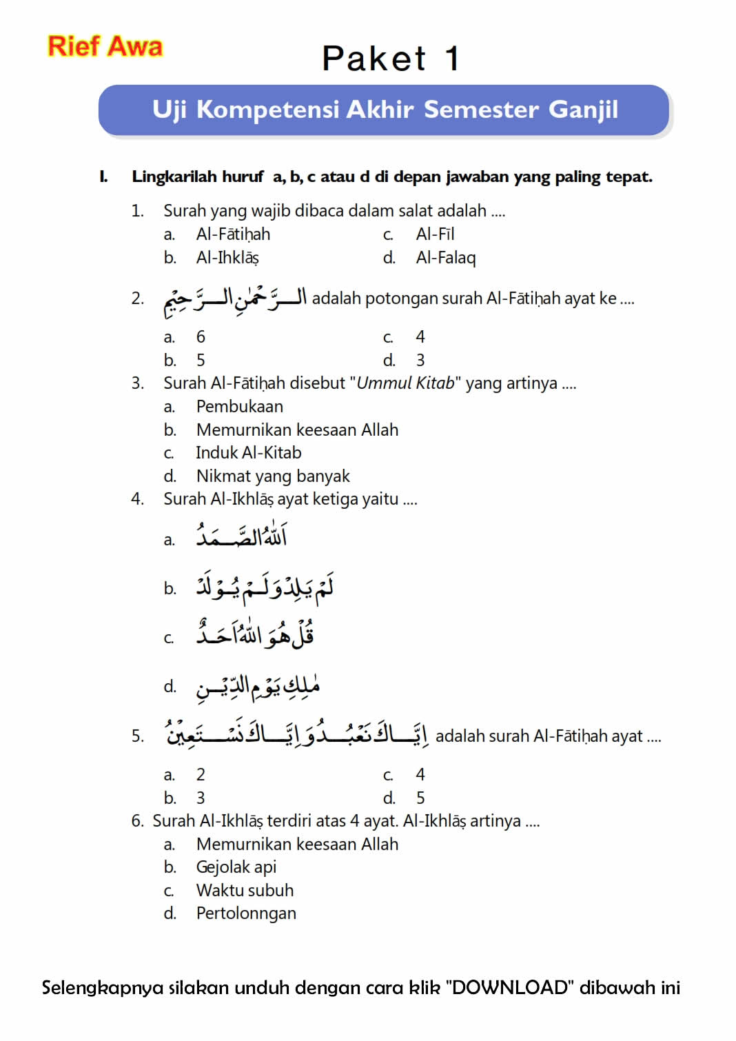 Download Soal Uas Ganjil Pendidikan Agama Islam Kelas 4