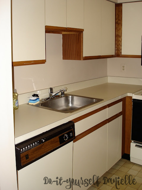 Laminate cabinets and counters in a small condo kitchen.