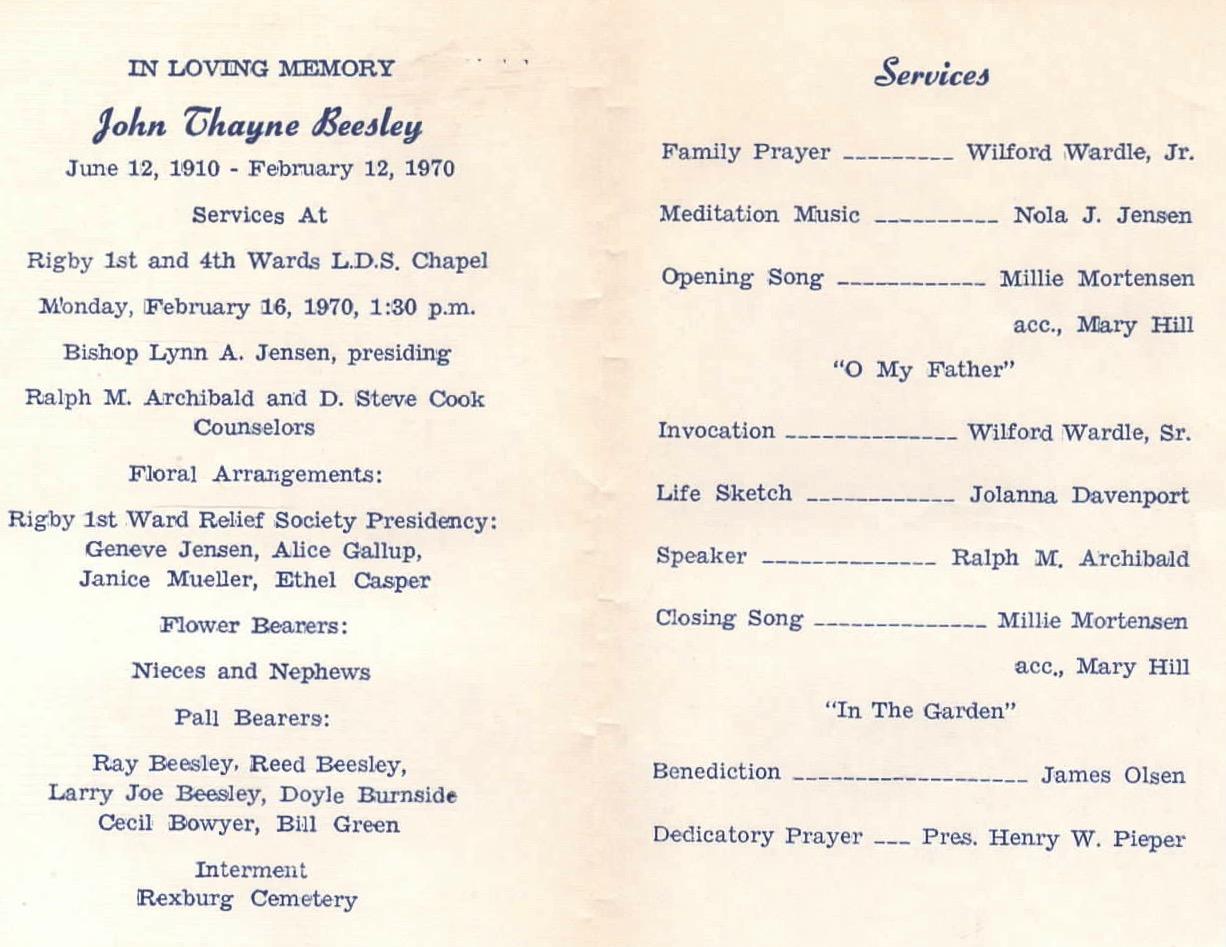 Billy Wardle genealogy: Funeral Program: John Beesley