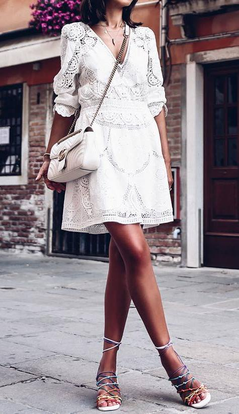 all white everything: dress + bag