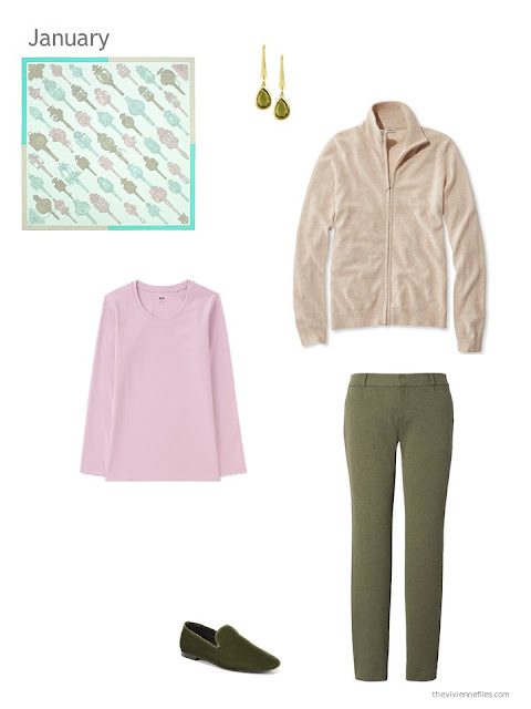 beige cardigan, pink tee and olive pants brought into harmony with an Hermes scarf