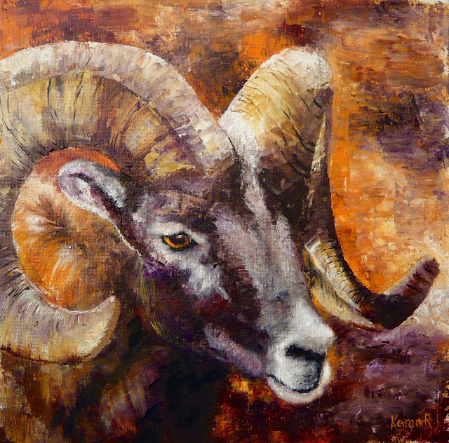 oil painting of a ram with huge horns called 'headgear'