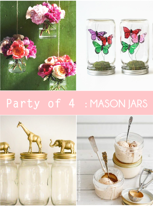 Unexpected Party Ideas using Mason Jars - via BirdsParty.com