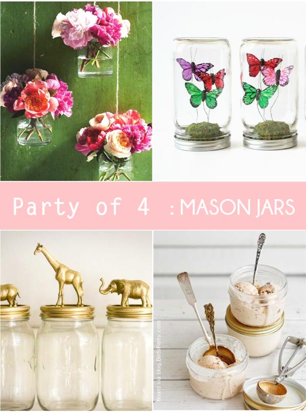 Unexpected Party Ideas using Mason Jars - via BirdsParty.com