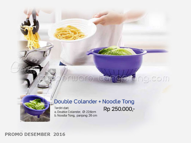 Double Colander & Noodle Tong Promo Tupperware Desember 2016