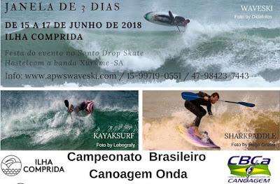 Atletas de todo o país confirmaram presença no  Campeonato Brasileiro- Canoagem onda- Waveski