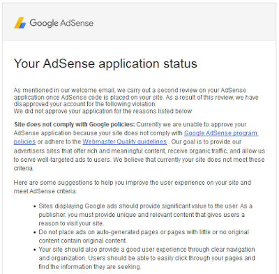 Google AdSense application was rejected due to Site Does Not Comply With Google Policies