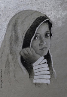 A charcoal and white pastel pencil portrait drawing on Strathmore gray toned paper
