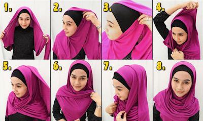 Cara memakai kerudung pashmina panjang