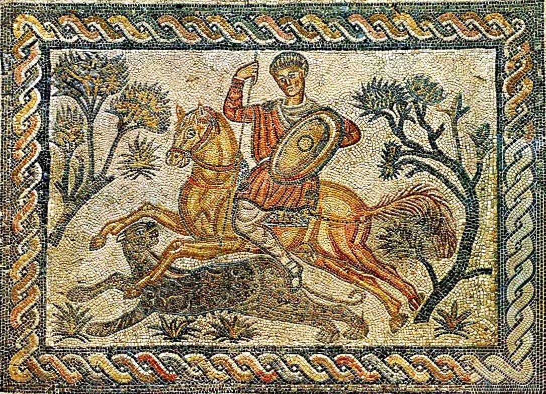 Roman Mosaic Hunting Scene With Guilloche Border