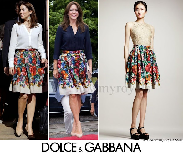 Crown Princess Mary wore Dolce & Gabbana floral skirt