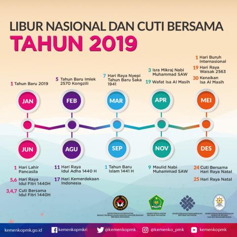 Cuti Bersama dan Hari Libur Nasional Tahun  TERLENGKAP CUTI BERSAMA DAN HARI LIBUR NASIONAL TAHUN 2019